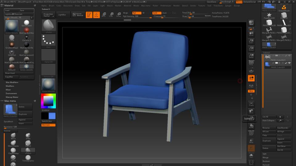 Работа над 3д моделью мебели