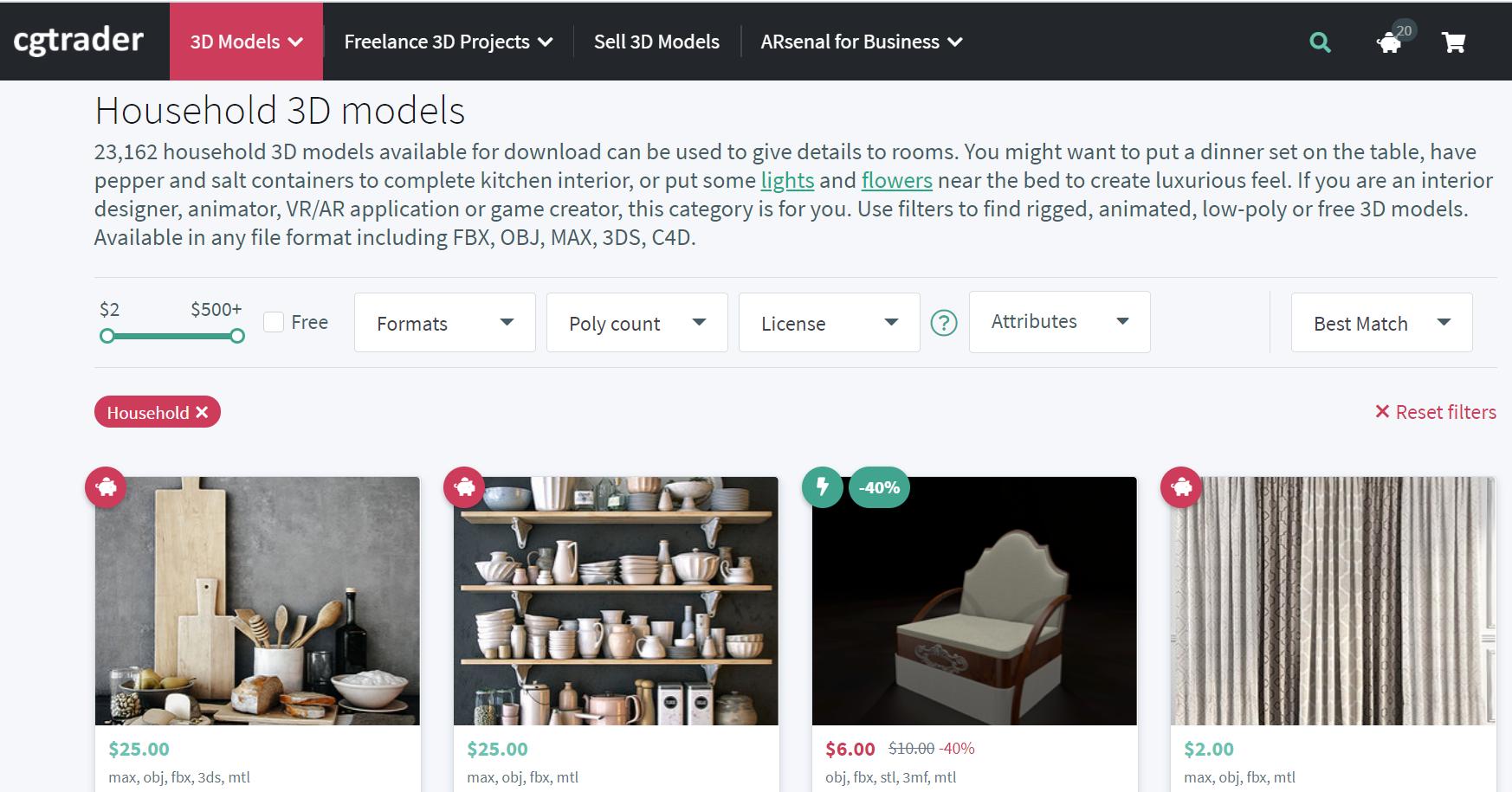 Продажа 3D моделей на стоке