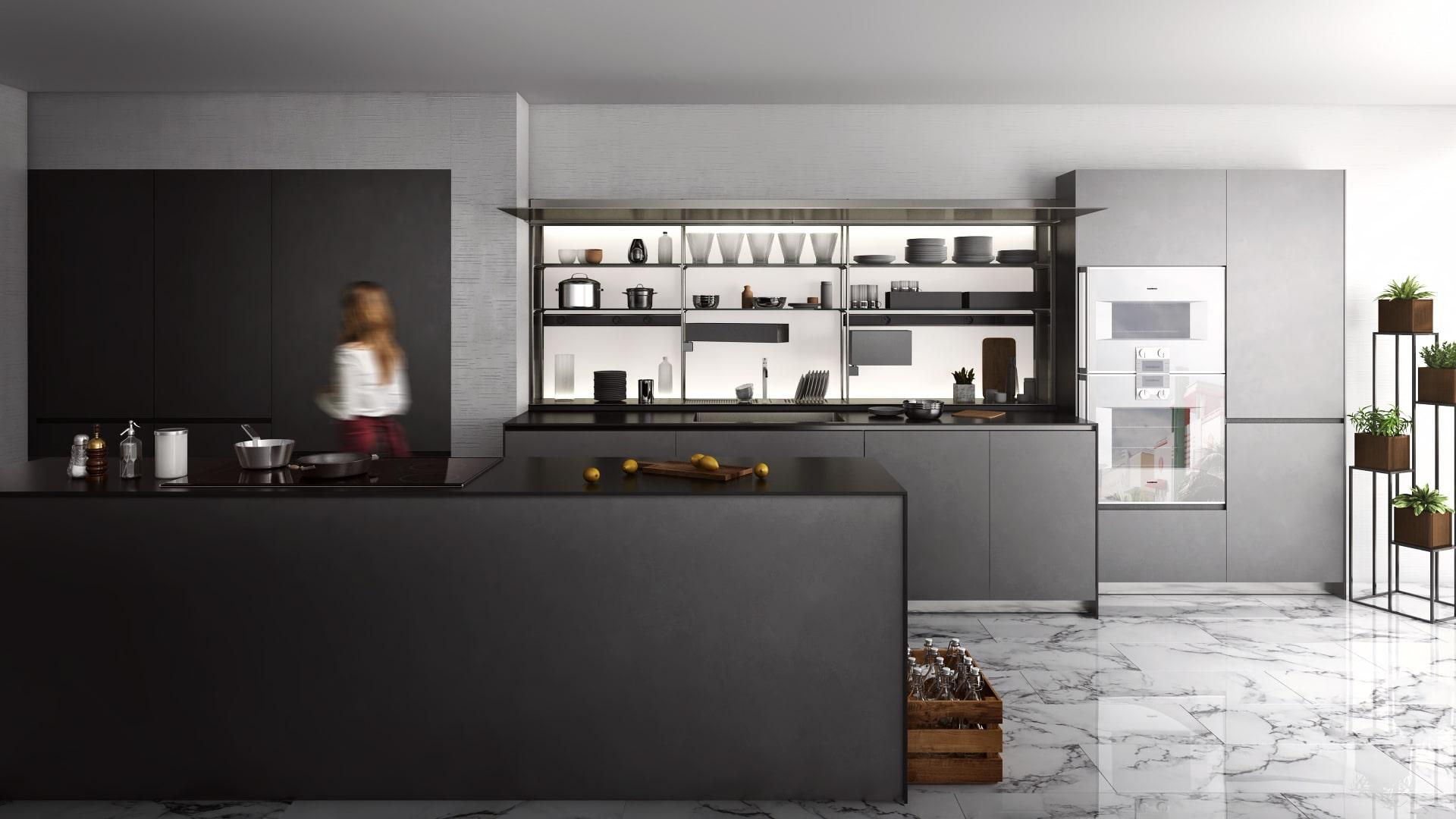 3D визуализация кухни в современном стиле